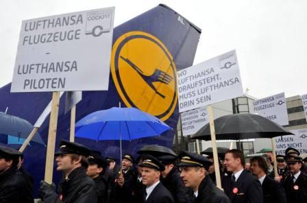 Пилоты авиакомпании Lufthansa бастуют